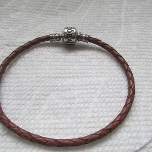 """pandora Jewelry - Pandora brown leather bracelet 7.5"""""""